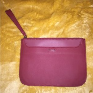 Lipault Paris Leather Plume Clutch Ruby red merlot
